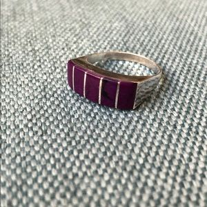 Jewelry - Five-Stone Zuni-Style Vintage Silver+Purple Ring